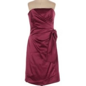 Satin maroon dark red strapless dress with bow